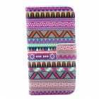 Stripe Pattern Flip-open PU Leather Case w/ Stand / Card Slots for IPHONE 4 / 4S - Purple + Red