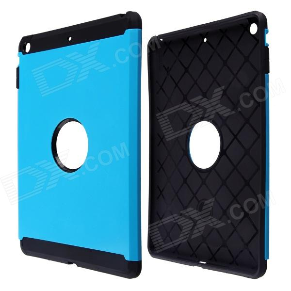 PC and Silicone Hybrid Patchwork Tough Armor Case with Air Cushion Tech for IPad AIR - Blue luphie combo tough aluminium alloy armor case for iphone 6s 4 7 inch black