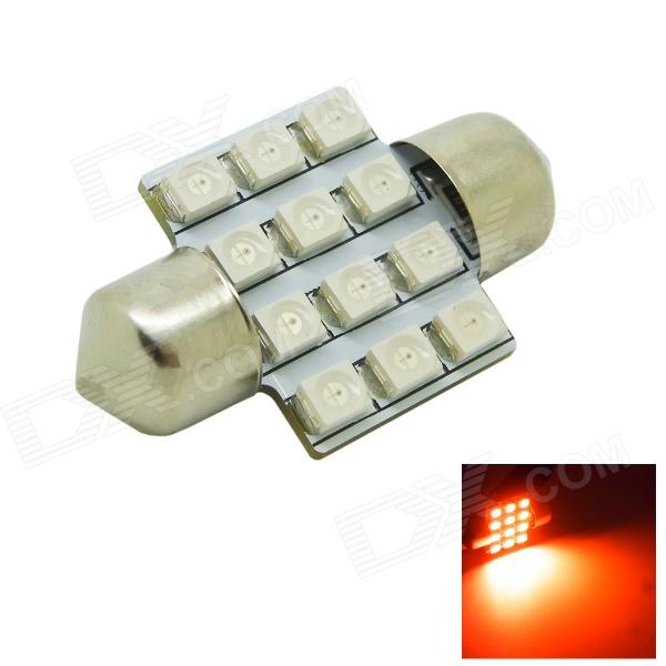 31mm 1.2W 80lm 12x3528 SMD LED Red Light Car Dome Festoon Door Light Bulb ( DC 12V )