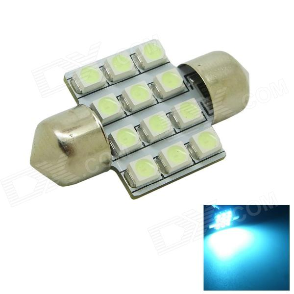 31mm 1.2W 80lm 12x3528 SMD LED Ice Blue Light Car Dome Festoon Door Light Bulb ( DC 12V ) stylish flower feather fascinator headband wedding banquet party pillbox hat