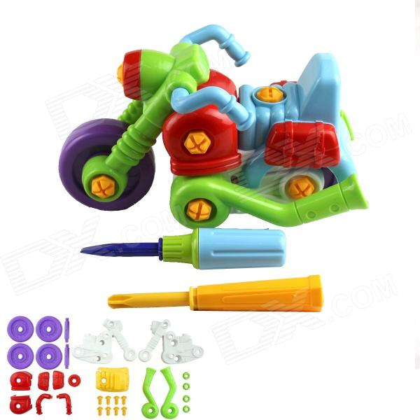 Children's 35-Part Assembling Motorcycle Toy - Green + Blue + Red + Purple