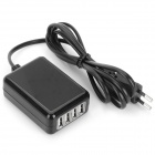 MT-04 EU Plug 4-Port USB Charger for IPHONE / IPOD / IPAD - Black (100~240V / 140cm)