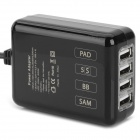 EU plugg 4-Port USB lader for iPhone / iPod / iPad (100 ~ 240V / 140cm)