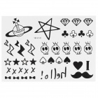 Skull Head + Star Style Waterproof Tattoo Paper Sticker - Black + White
