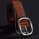 Personality Men's Leisure Letters + Numbers Pattern PU Pin Buckle Belt - Brown