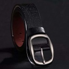 Personality Men's Leisure Letters + Numbers Pattern PU Pin Buckle Belt - Black