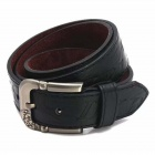 Fashion Letter Printing PU Zinc Alloy Pin Buckle Belt for Men - Black