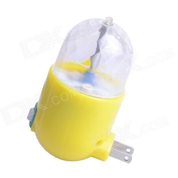 W528 3W 3-LED RGB Rotating Night / Stage Lamp - Yellow + Translucent (US Plug / AC 85~260V)