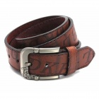Fashion Letter Printing PU Zinc Alloy Pin Buckle Belt for Men - Coffee