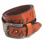 Fashion Letter Printing PU Zinc Alloy Pin Buckle Belt for Men - Brown