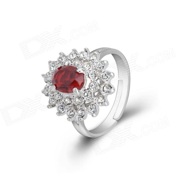 KCCHSTAR Gold Plating Rose Red Rhinestone + Crystal Inlaid Ring - Silver + Red (US Size 8)