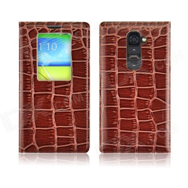 Angibabe Crocodile Pattern Ultral Thin PU Leather Case w/ View Window for LG G2 - Brown angibabe crocodile pu ultrathin view window smart leather case for lg g3 brown