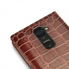 Angibabe Crocodile Pattern Ultral Thin PU Leather Case w/ View Window for  LG G2 - Brown