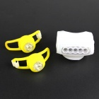 DIY White + RGB Headlight + Tail Warning Lamp Set for Bicycle - White + Yellow