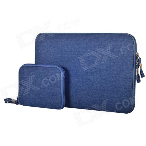 Oushine Protective Oxford Sleeve Bag + Small Bag for 11.6 MACBOOK AIR - Blue oushine ultra slim protective felt sleeve bag pouch for 15 macbook pro retina black