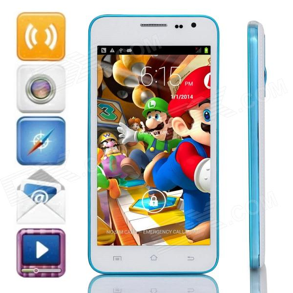 G3 Dual-Core Android 4.2.2 WCDMA Bar Phone w/ 5.0 IPS, 4GB ROM, Wi-Fi, GPS - White + Blue m pai 809t mtk6582 quad core android 4 3 wcdma bar phone w 5 0 hd 4gb rom gps black