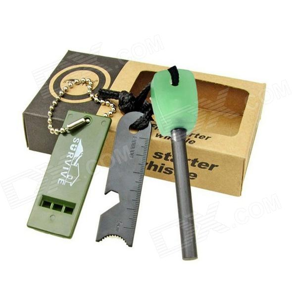Survive HK-37 Outdoor Survival Flintstone Fire Starter Flint + Knife + Whistle Set - Black + Green