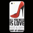 Ultra-thin Embossed High Heels Protective Plastic Back Case for IPHONE 5 / 5S - White + Red + Black