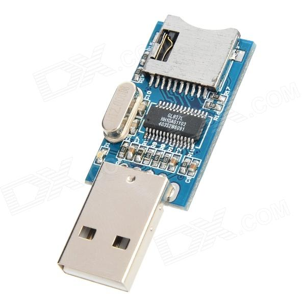 GL827 USB Port Mini SD Card Reader Board Module - Deep Blue