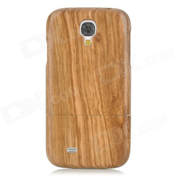Protective Zebra Wood Back Case Cover for Samsung Galaxy S4 - Brown + Yellow