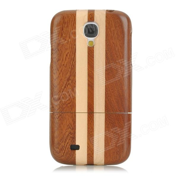 Protective Wooden Back Case Cover for Samsung Galaxy S4 - Brown + Yellow compass pattern detachable protective wooden back case for samsung galaxy s4 i9500 brown black