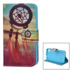 YI-YI Chinese Knot Patterned Flip-Open PU Leather Case w/ Stand for IPHONE 4 / 4S - Black + Blue