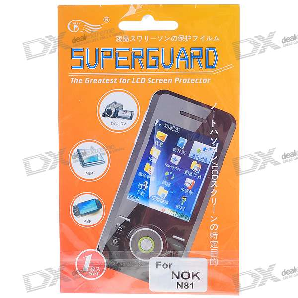 LCD Screen Protector with Cleaning Cloth for Nokia N81