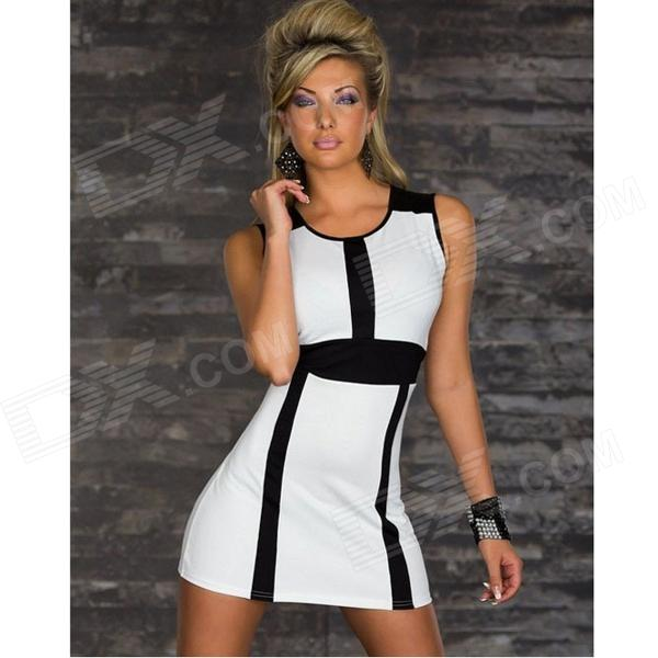 Fashionable Sexy Sleeveless Slim Polyester Dress for Women - White + Black (M)