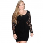 Fashionable Long Sleeves Slim Lace Dress for Women - Black (XXL)