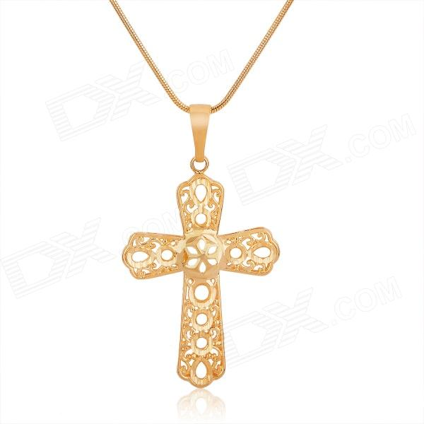 KCCHSTAR Cross Style 24K Gold Plated Copper Pendant Necklace - Golden kcchstar high quality fine copper electroplating 24k real gold thick necklace golden