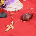 KCCHSTAR Cross Style 24K Gold Plated Copper Pendant Necklace - Golden