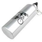 Portable Aluminum Alloy Sports Water Bottle for Cycling / Travel - Silver + White (750mL)