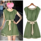 Fashionable Round Neck Chiffon Dress w/ Waist Belt - Green (L)