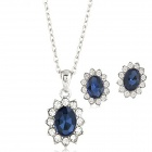 FenLu Elegant Shiny Crystal Inlaid Zinc Alloy Necklace + Earring Jewelry Set - Silver + Blue