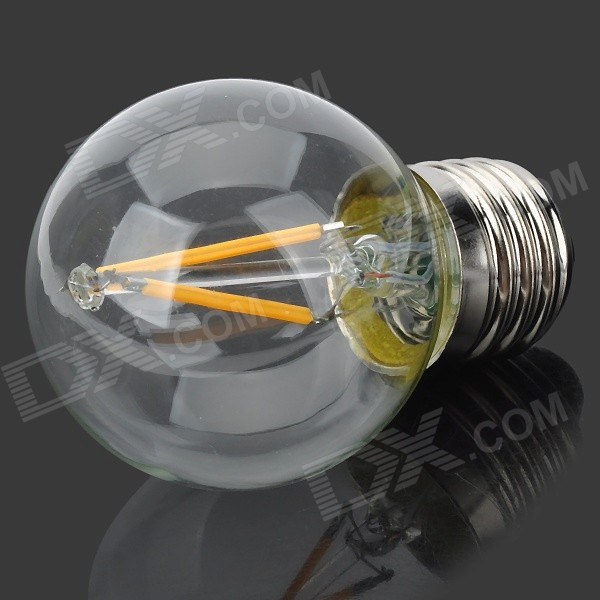 E27 2W 180lm 3000K Warm White Light 2-LED Filament Bulb - Transparent (AC 220V)