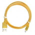 USB Male to Micro USB 5-Pin Male Data Sync / Charge Cable for Samsung + More - Golden Yellow (92cm)