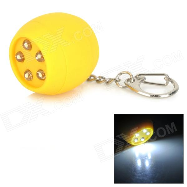 Creative Ball Shaped 5-LED White Light Keychain - Yellow (3 x AG10) creative volleyball shaped sponge stainless steel keychain blue yellow white