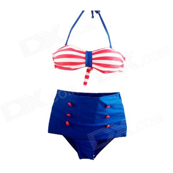Fashionable High-waist Bottom + Halter Neck Top Bikini Set - Blue + Red (L)