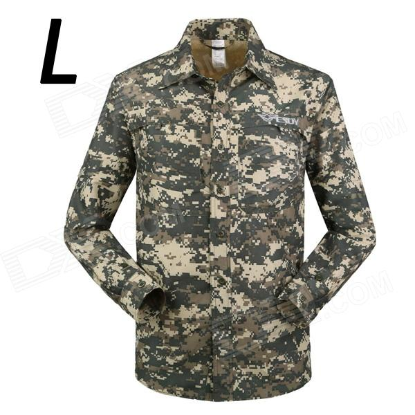 ESDY-633 Men's Quick-Drying Detachable Sleeves Outdoor Shirt - ACU Camouflage (L) esdy 619 men s outdoor sports climbing detachable quick drying polyester shirt camouflage xxl