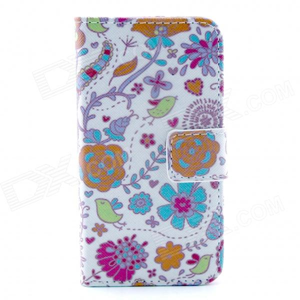 Folower Pattern Flip-open PU Leather Case with Stand and Card Slot for IPHONE 4 / 4S cute owl pattern pu leather flip open case w stand card slot for iphone 4 4s multi color