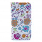 Folower Pattern Flip-open PU Leather Case with Stand and Card Slot for IPHONE 4 / 4S
