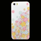 Ultra-thin Embossed Flowers Protective Plastic Back Cover Case for IPHONE 5 / 5S - White + Pink