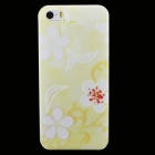 Embossed Flower Petal Pattern Protective Plastic Back Cover Case for IPHONE 5 / 5S - Yellow + White