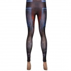 Elonbo Y1U5 Women's Pharaoh Style Digital Painting Tight Leggings - Blue + Bronze