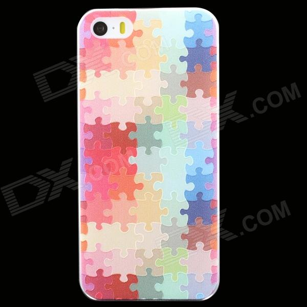 Ultra-thin Embossed Jigsaw Pattern Protective Plastic Back Cover Case for IPHONE 5 / 5S mercury goospery flash powder gel tpu case cover for iphone se 5s 5 cyan
