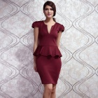 LC6173-2 Noble Stylish V-neck Midi Peplum Dress - Claret (L)