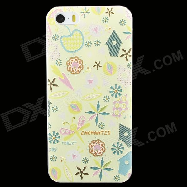 Ultra-thin Embossed Protective Plastic Back Cover Case for IPHONE 5 / 5S - Yellow
