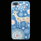 Ultra-thin Embossed Elk Protective Plastic Back Cover Case for IPHONE 5 / 5S - Deep Blue