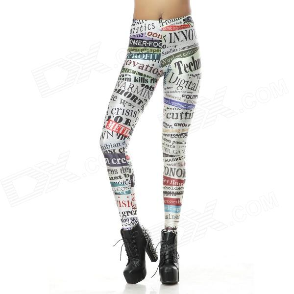 Elonbo Y1A87 Women's Alphabet Digital Painting Tight Leggings - White + Black