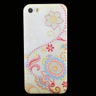 Ultra-thin Embossed Protective Plastic Back Cover Case for IPHONE 5 / 5S - Beige + Red